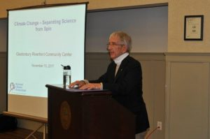 Gary Yohe spoke about climate change at the Glastonbury Riverfront Community Center on Nov. 15.