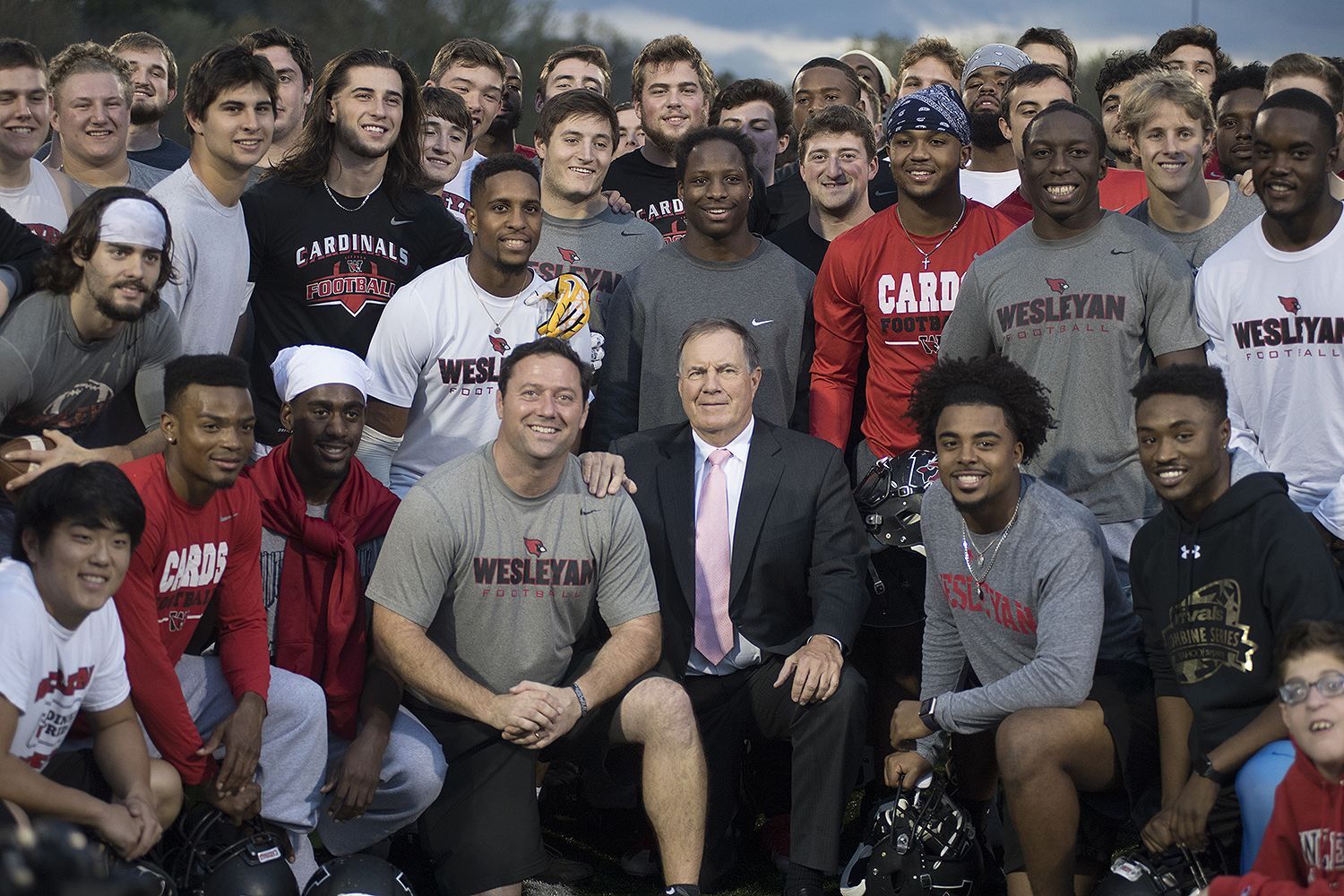 Belichick posed for photos with Head Coach Dan DiCenzo and the Wesleyan football team.