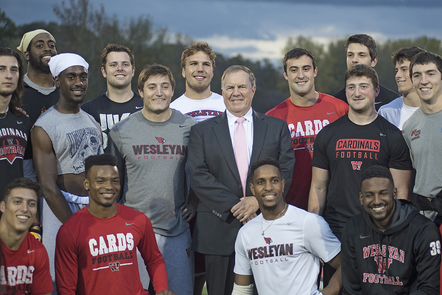 New England Patriots Head Coach Bill Belichick '75 met with members of the Wesleyan football team during the dedication of Belichick Plaza on Nov. 3.