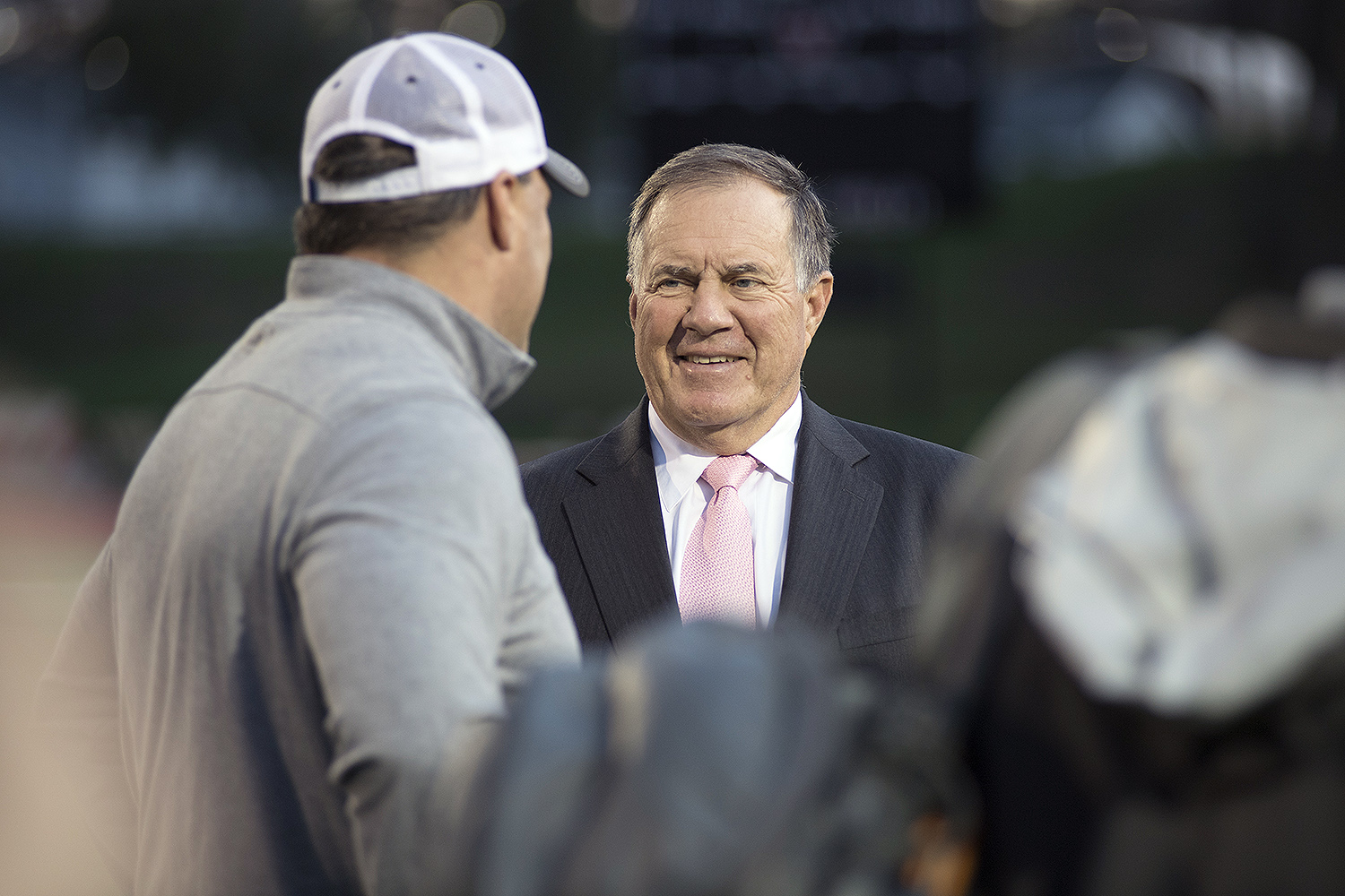 Belichick meets Men's Lacrosse Head Coach John Raba. Bill was a economics major and member of Chi Psi. Played football, lacross and squash at Wesleyan.
