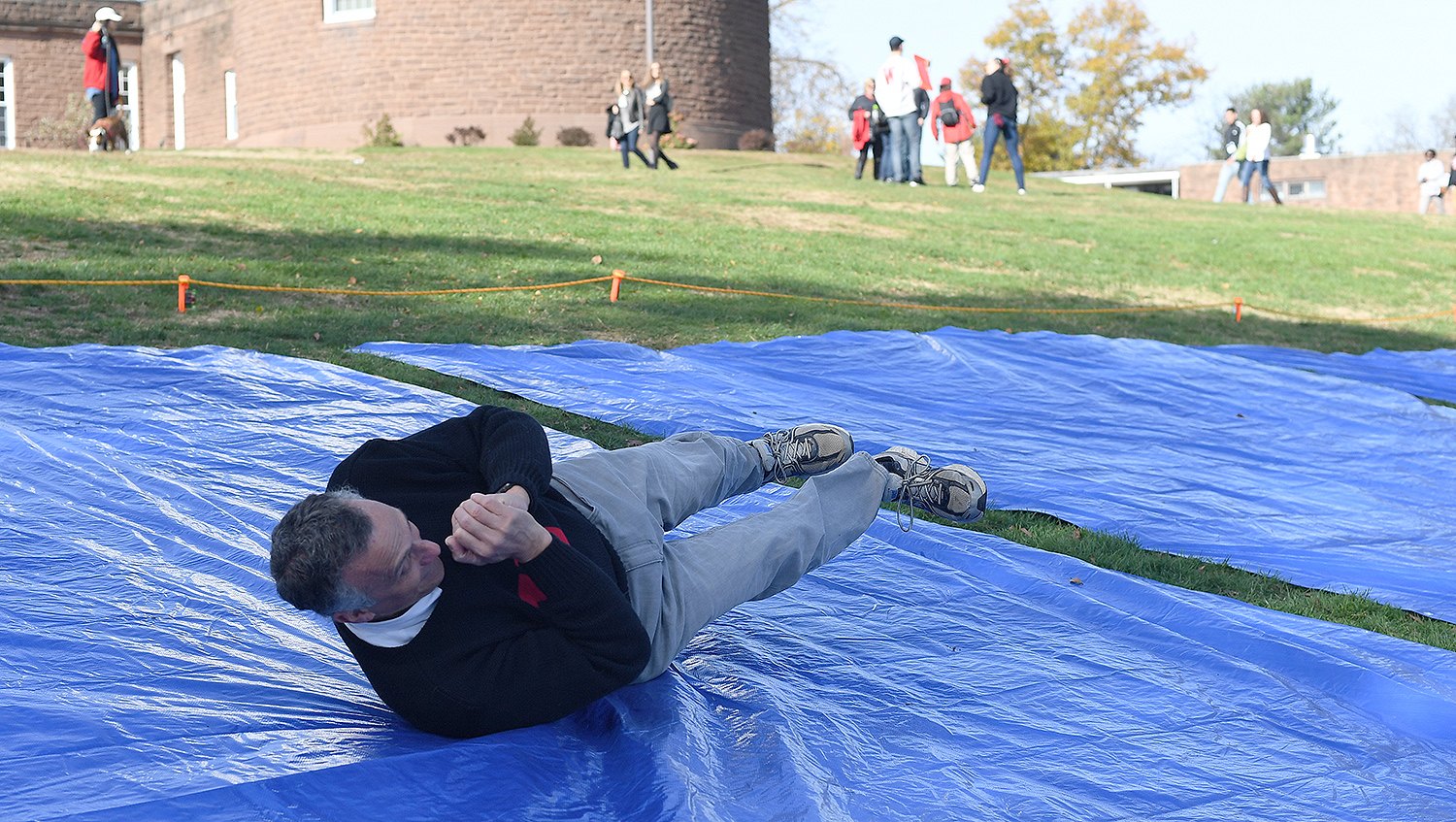 Wesleyan President Michael Roth participates in The Big Roll.