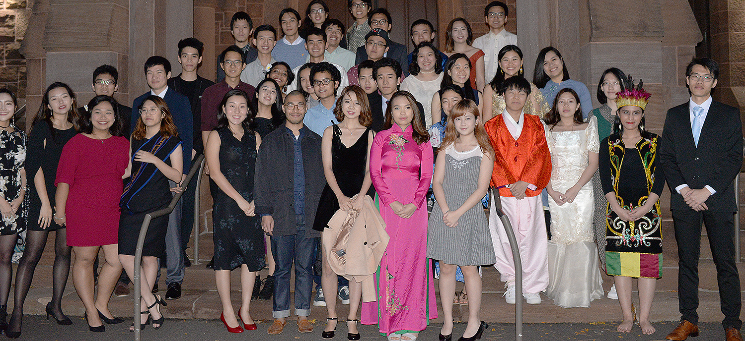 On Nov. 3, Wesleyan's Freeman Asian Scholars gathered for group photos and dinner. The Freeman Scholars Program annually provides expenses for a four-year course of study toward a BA for up to 11 exceptional Asian students from these countries and regions: the People's Republic of China, Hong Kong, Indonesia, Japan, Malaysia, the Philippines, Singapore, South Korea, Taiwan, Thailand and Vietnam.