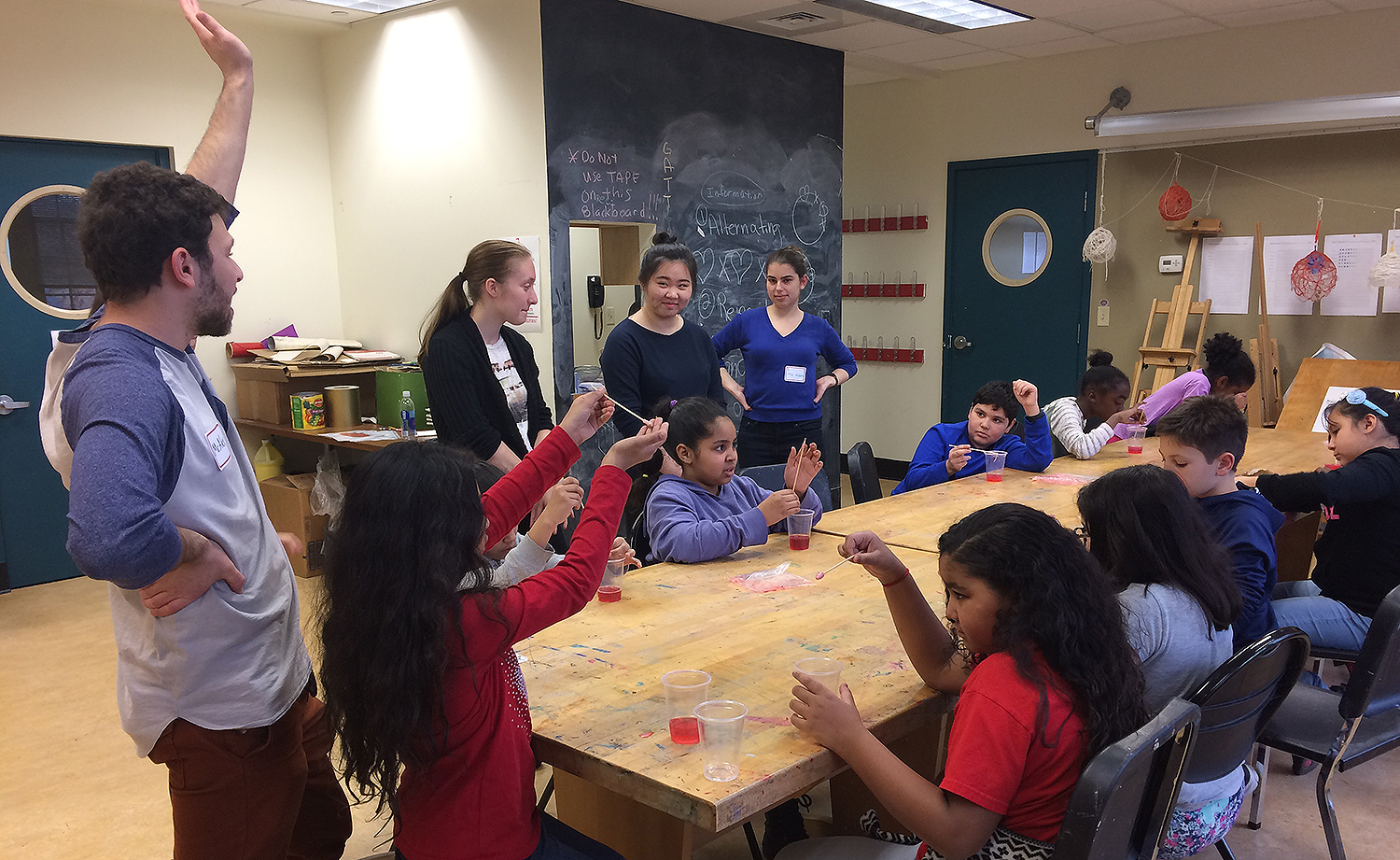 The Wesleyan students taught GSTLC's 1st-5th graders about basic molecular biology and then led them through a hands-on activity where the children extracted DNA from strawberries.
