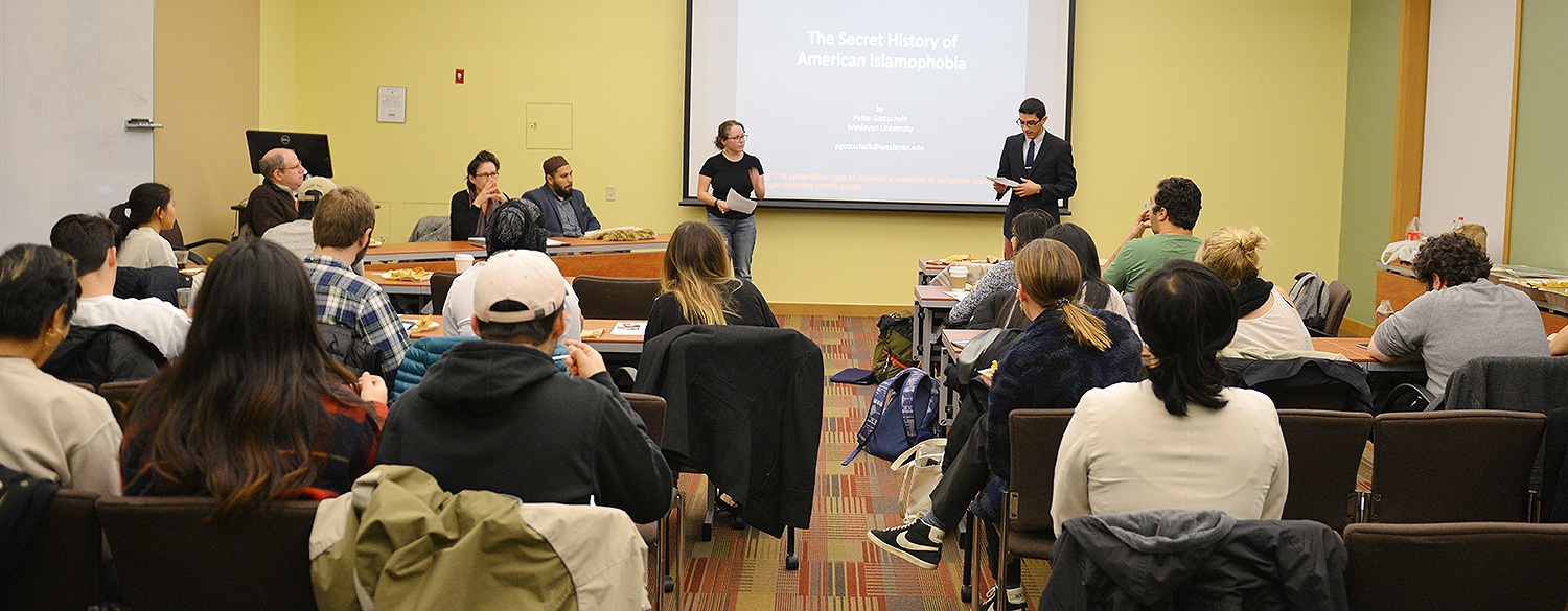 The event was moderated by Caroline Kravitz '19, at left, and Eunes Harun '20, at right.
