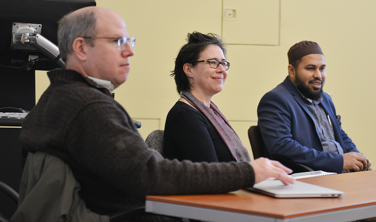 "The Wesleyan Refugee Project hosted a faculty panel on ""Islamophobia in the Age of Trump"" Dec. 7."