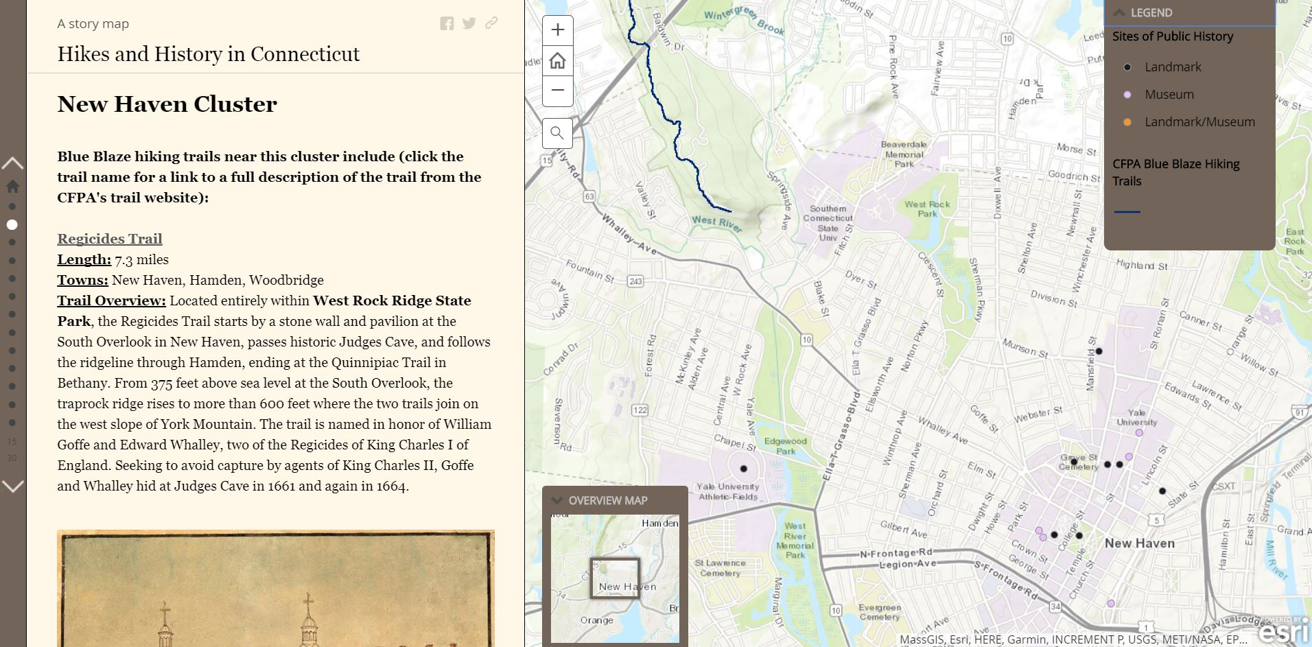 "The public history group created a Story Map titled ""Hikes and History in Connecticut. Steven Chen '18 and Ilana Newman '18 located multiple cultural sites in the State of Connecticut that provide an opportunity to explore new methods of learning."
