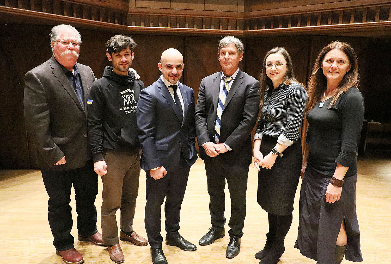 Pictured from left are Barry Chernoff, director of the College of the Environment; Yurko Didula, Mustafa Nayyem, Daniel Hryhorczuk, event moderator Olena Lennon and Katja Kolcio. Lennon is an adjunct professor of political science at the University of New Haven.