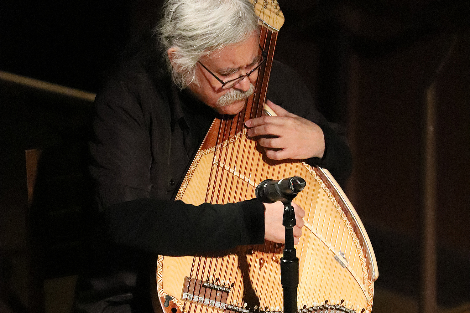 Composer Julian Kytasty, a Ukrainian descendant, performed on a Ukranian, string instrument known as a bandura.