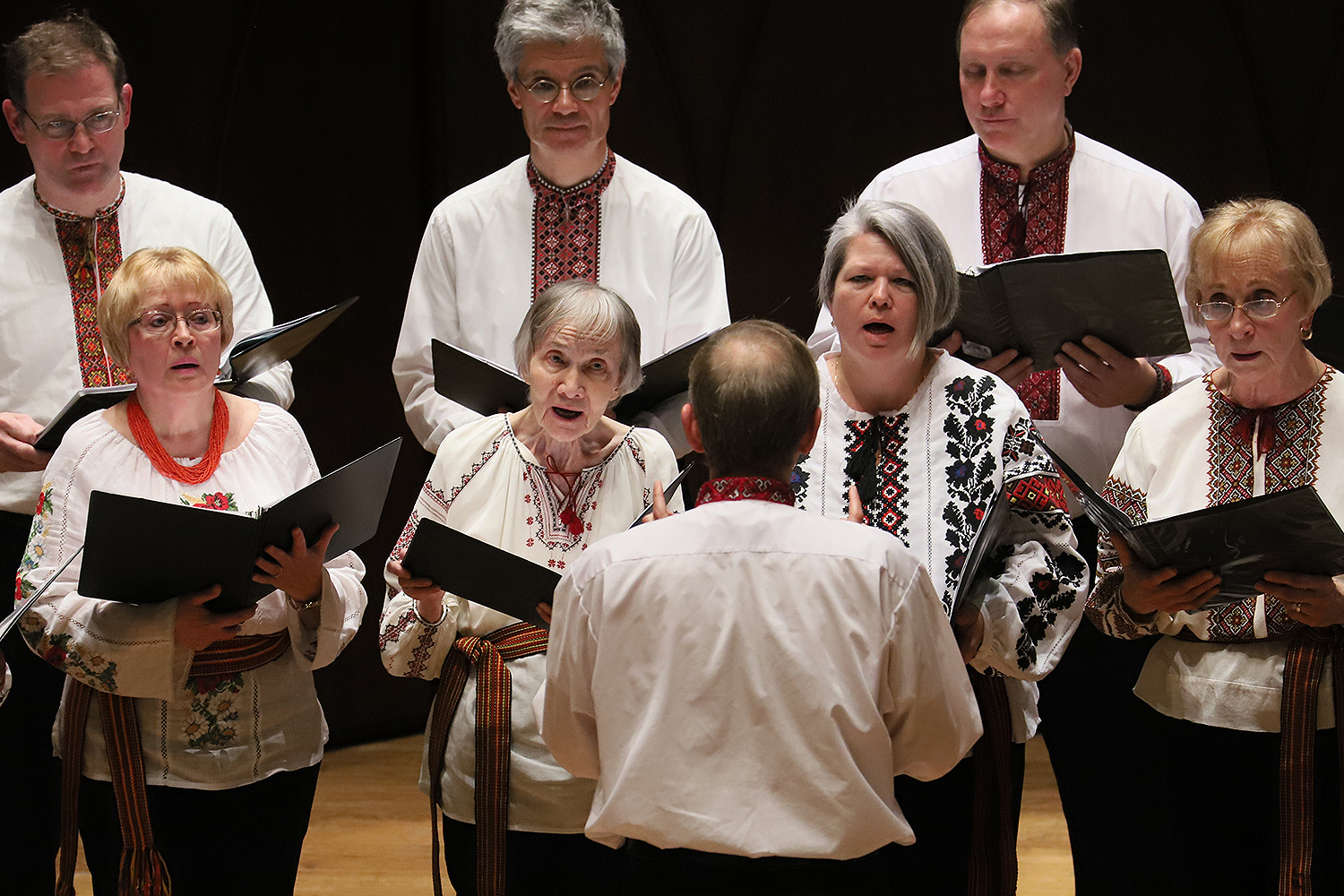 "The Yevshan Ukrainian Vocal Ensemble of Hartford, a Connecticut-based Ukrainian community chorus, performed an original composition by its conductor, Alexander Kuzma, based on poem ""On Bald Mountain"" by Vasyl Stus. Stus, a human rights activist and political prisoner from the Donetsk Region of Ukraine, died in the Soviet Gulag in 1985. Donetsk State University was renamed in honor of Stus in the late 2000s, but since the Russian invasion of Donetsk in 2014, Stus's name has been removed from the campus."