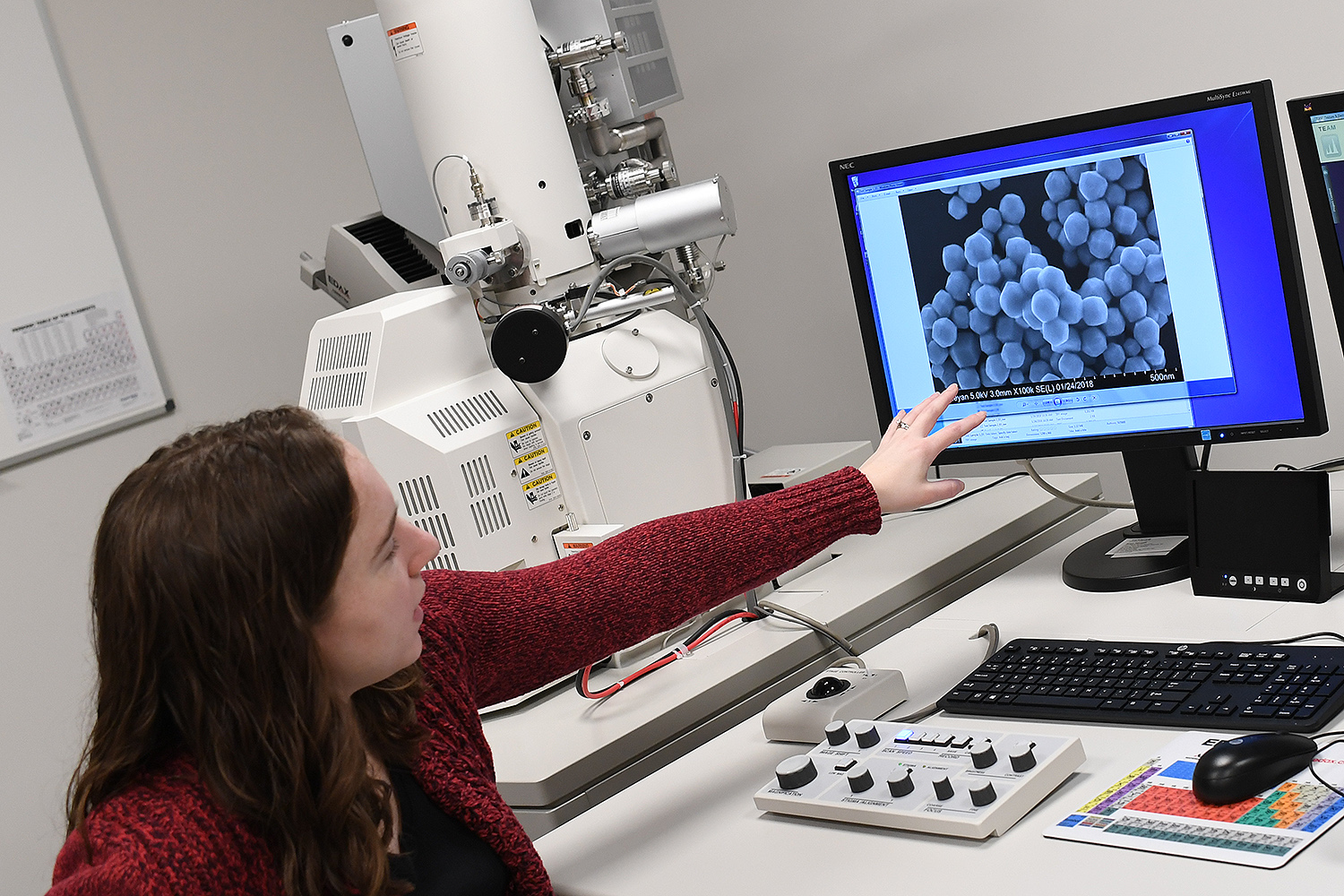 Michelle Personick, assistant professor of chemistry, examines nanoparticles viewed from a new field emission scanning electron microscope.