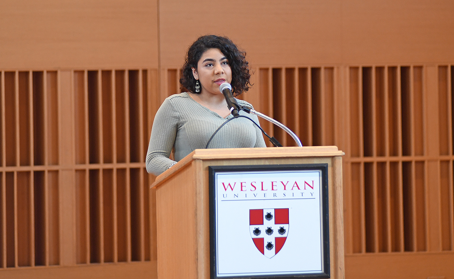 Natasha Guandique '20, presented an excerpt from King's baccalaureate address at Wesleyan on June 7, 1964.