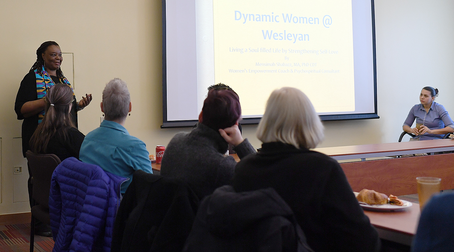 "On Feb. 13, Wesleyan's Dynamic Women@Wes organization hosted a workshop on ""Living a Soul-filled Life by Strengthening Self-Love."" Inspirational speaker Mensimah Shabazz led a meditation and discussed that focused on creative ways of generating self-confidence, fearlessness and inner wisdom. Shabazz is the president of AGAPE Consulting, which focuses on energy healing and psychospirituality."