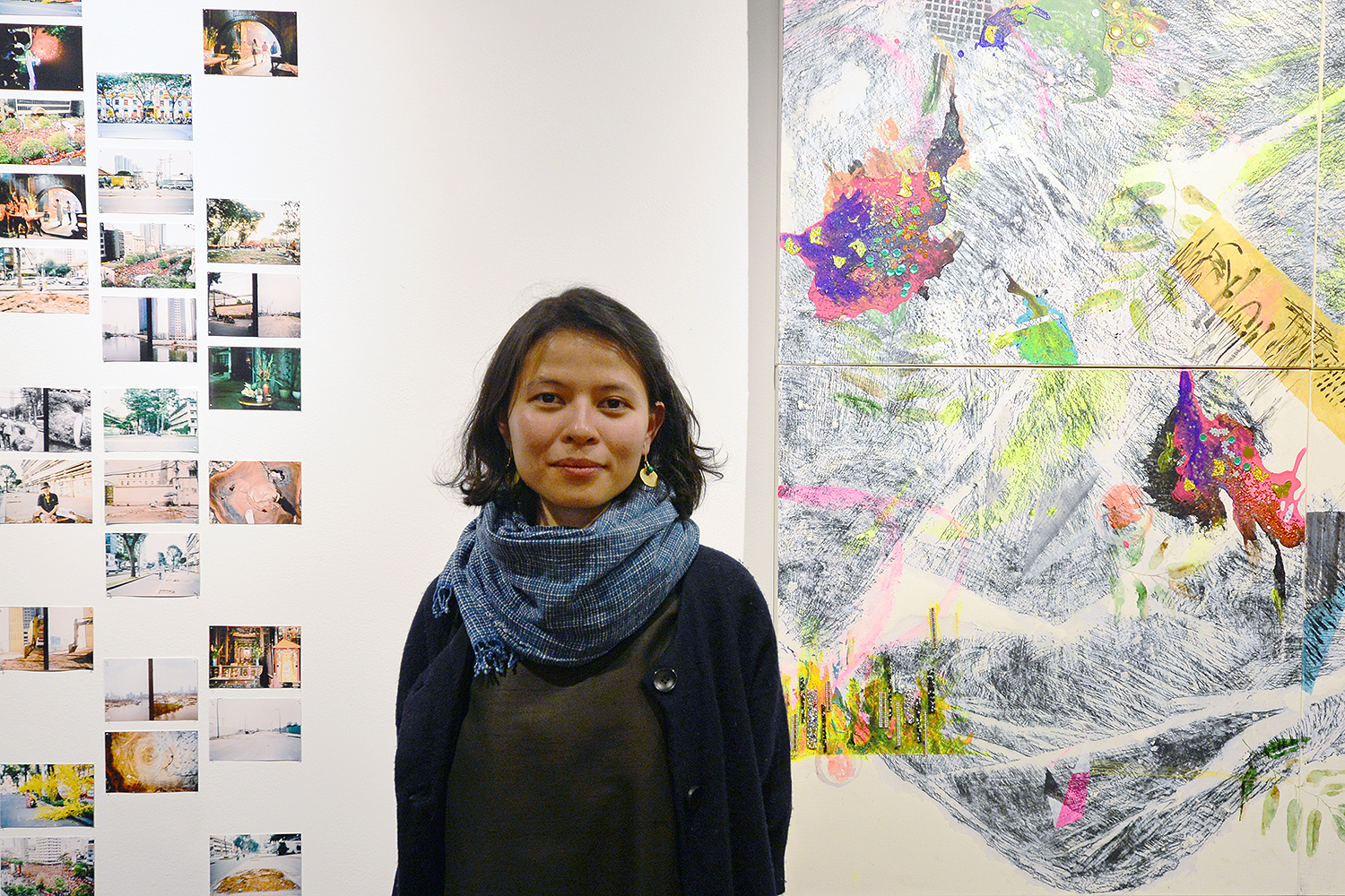 On March 29, Vietnamese artist Lêna Bùi '07 spoke to gallery goers at the opening reception of her exhibit, Proliferation at the College of East Asian Studies. In Proliferation, Bùi draws on her context of living in a rapidly changing country. Her abstract paintings, photographs, and candid video broadly examine the less obvious effects of development on the socio-political and cultural fabrics of the country, and specifically dealing with people's negotiation with nature in various forms.