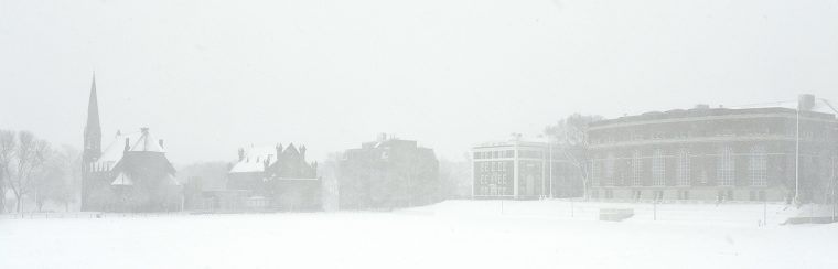 Andrus Field and College Row, March 13. (Photo by Olivia Drake)