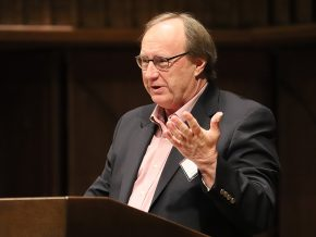 "On April 5, John Finn, professor of government emeritus, delivered the 27th annual Hugo L. Black Lecture on Freedom of Expression in Memorial Chapel. His talk was titled ""Gun Nuts and Speech Freaks: A Guide to the Alt-Constitution."""