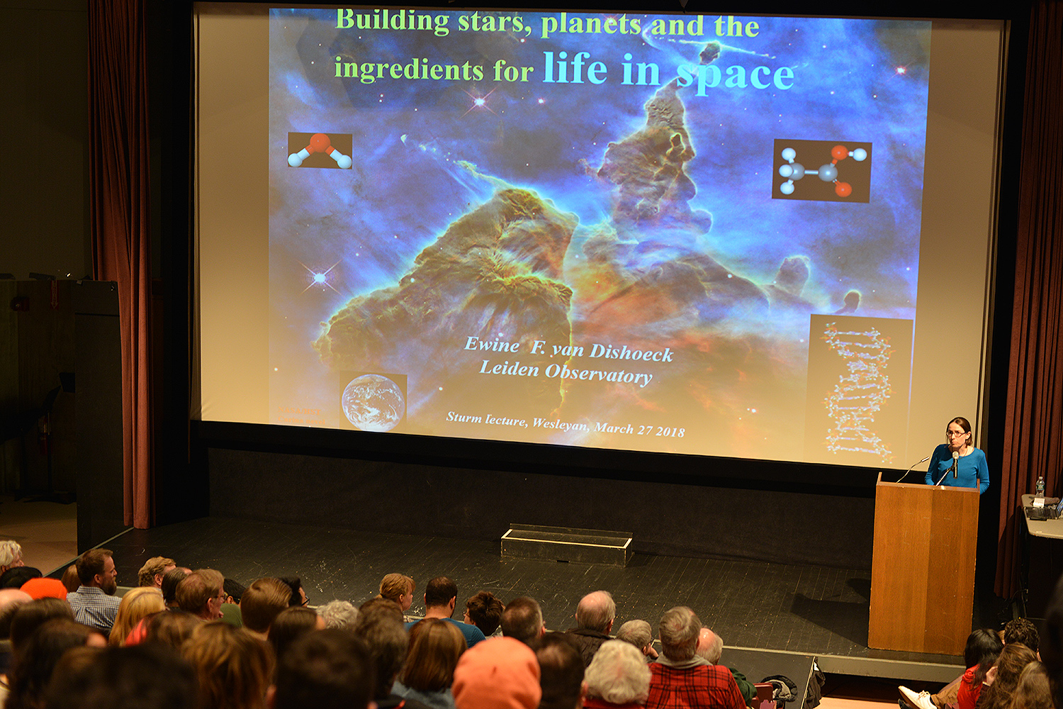 "On March 27, the campus community gathered to hear the 2018 Sturm Memorial Lecture, titled ""Building Stars, Planets and the Ingredients for Life in Space."""
