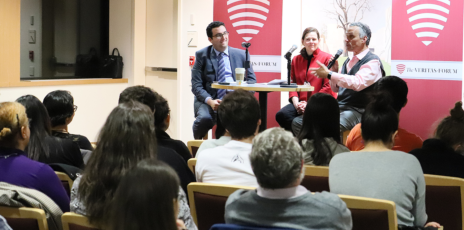 On March 1, Wesleyan hosted the Veritas Forum, featuring a discussion between Michael Wear, previously Faith Outreach Director of the Obama Administration, and President Michael Roth, moderated by Professor of Government Mary Alice Haddad.
