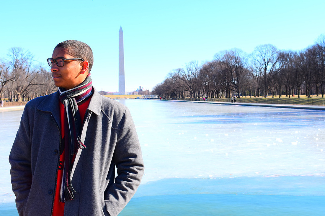 Anthony Price '20, pictured here by the Washington Monument in Washington D.C., is half-way through a five-month internship on Capitol Hill.