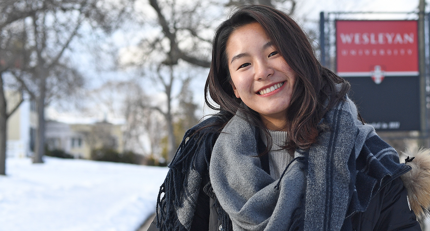 "Jessica Chen '20, who can speak Engligh, Mandarin, Cantonese, Korean and Italian, is co-organizing a language symposium titled ""The Power of Language"" to be held April 6–7 at the Fries Center for Global Studies. At this two-day symposium, participants will discuss language and culture, language and identity, second-language acquisition, language and technology, and other topics. (Photo by Olivia Drake)"