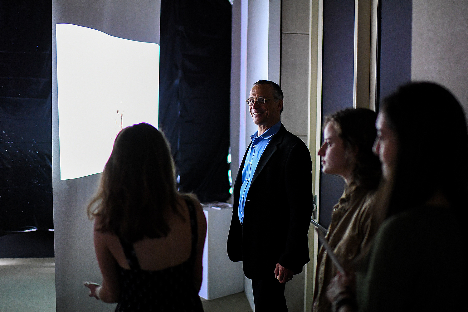 Wesleyan President Michael Roth attended the artists' reception on April 11.