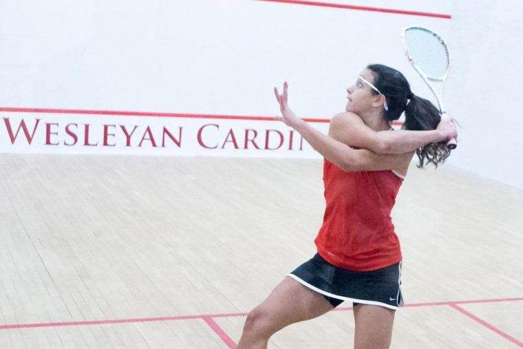 Laila Samy '18 of women's squash earned All-American honors.