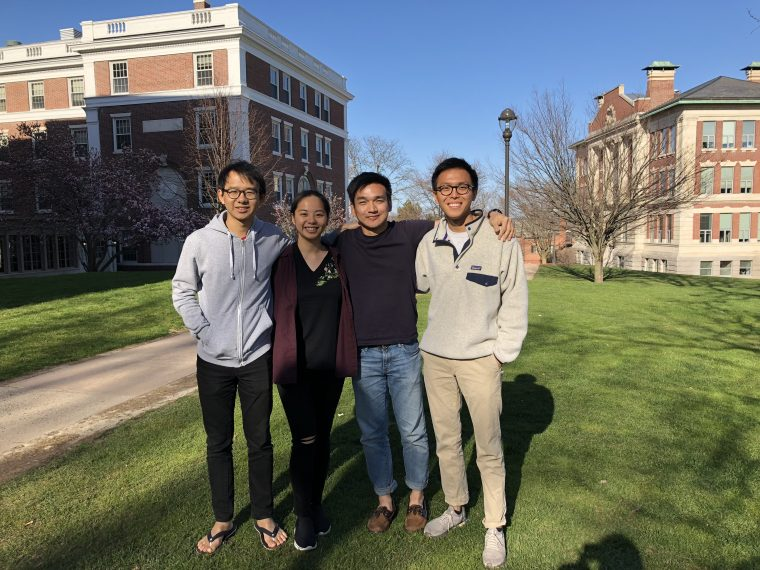"From left, Justin Liew '18, Rosanne Ng '19, Carlo Medina '18, and Jake Kwang '20 won first prize in Roland Berger's ""Case for a Cause"" competition in April."