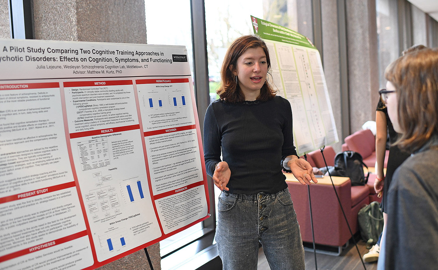 "Julia Lejeune researched ""A Pilot Study Comparing Two Cognitive Training Approaches in Psychotic Disorders: Effects on Cognition, Symptoms and Functioning."" Lejeune's advisor is Matthew Kurtz."
