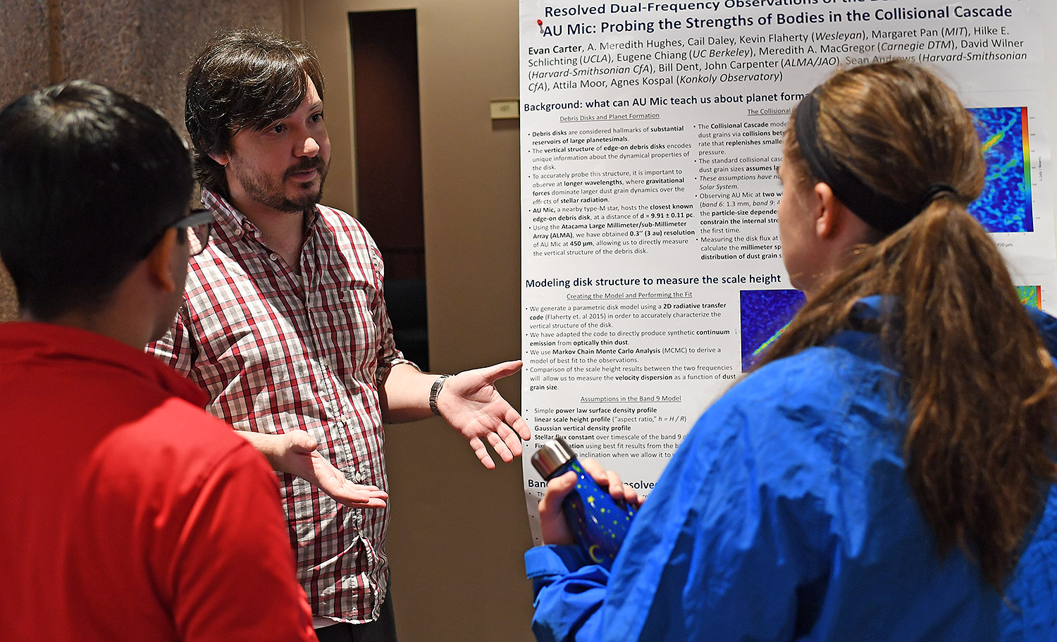 "Evan Carter presented his study titled ""Resolved Dual-Frequency Observations of the Debris Disk around AU Mic: Probing the Strength of Bodies in the Collisional Cascade."" Carter's advisor is Meredith Hughes."