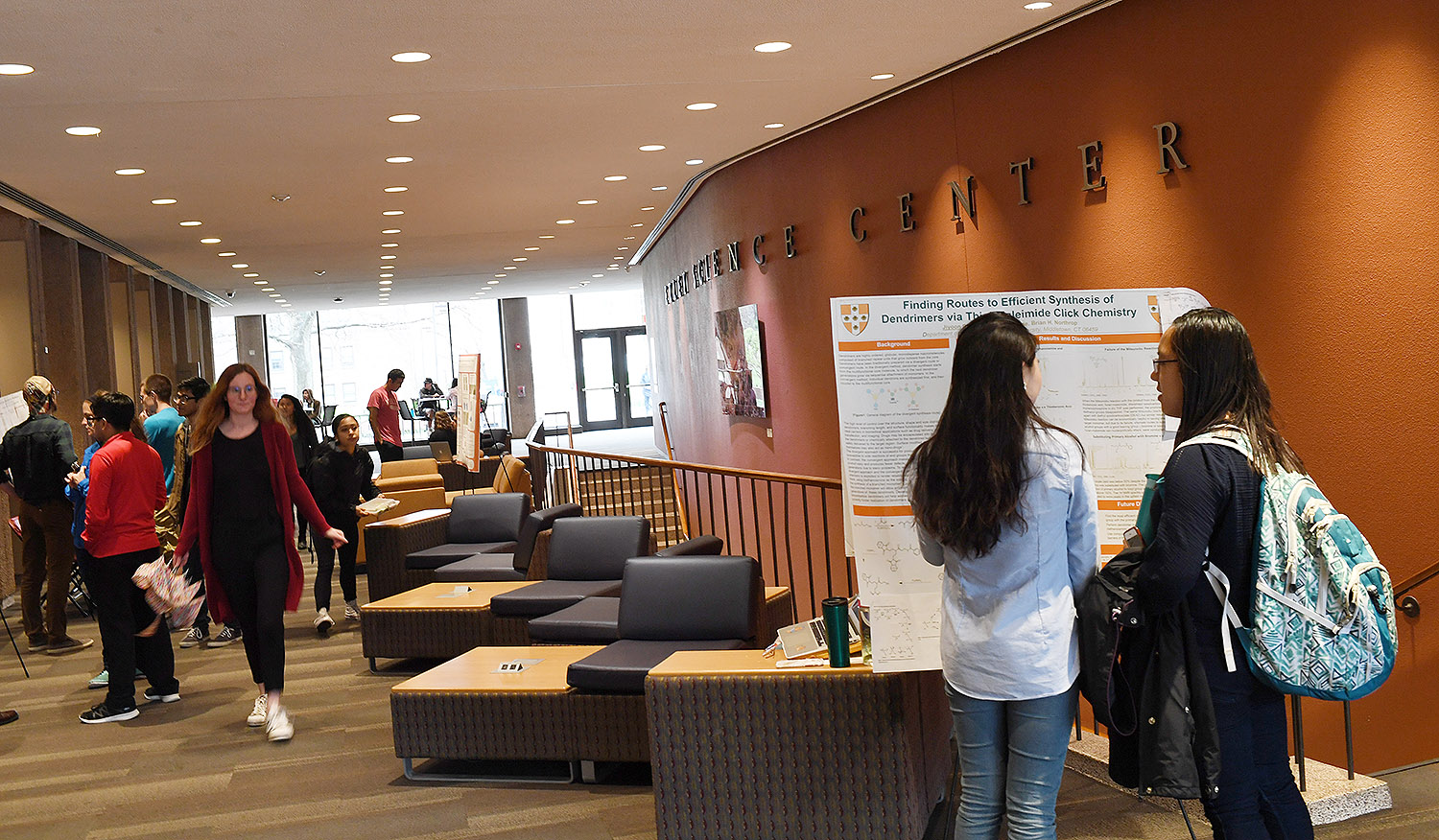 Honors and MA students from the Natural Sciences and Mathematics Division participated in the Celebration of Science Theses, April 27 in Exley Science Center. Students shared their work with the broader Wesleyan community.