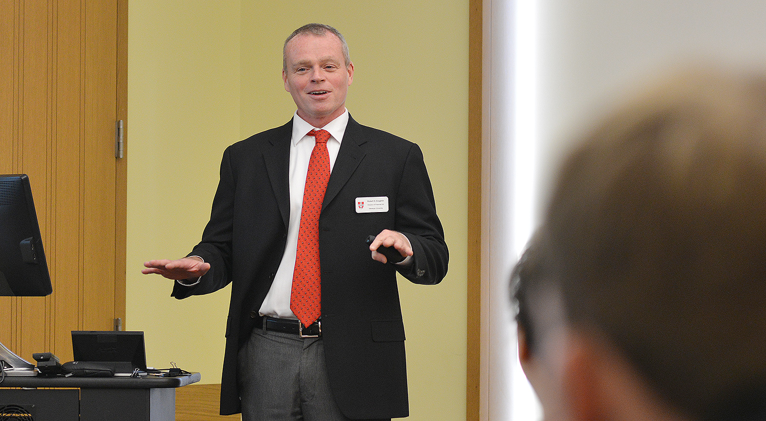 Robert Coughlin, director of financial aid, spoke to families about obtaining financial aid at Wesleyan.