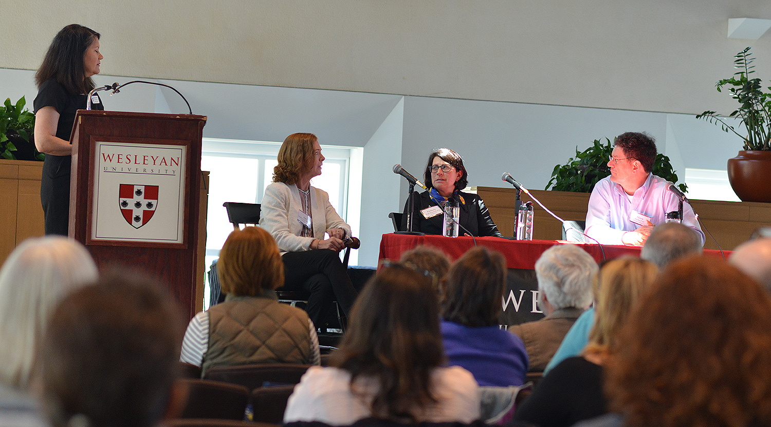 Prospective parents attended an interactive discussion with parents of current students. Kate Quigley Lynch '82, P'17, '19; Kimberly Pope MALS'14, P'19; and Marek Fuchs P'19 served as panelists and answered questions from the audience.
