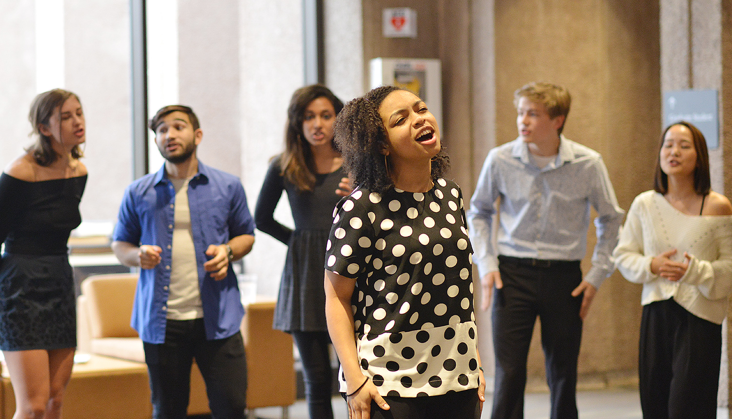 As part of WesFest, multiple a cappella groups performed at Exley Science Center. Wesleyan has more than a dozen a cappella groups.As part of WesFest, multiple a cappella groups performed at Exley Science Center. Wesleyan has more than a dozen a cappella groups.