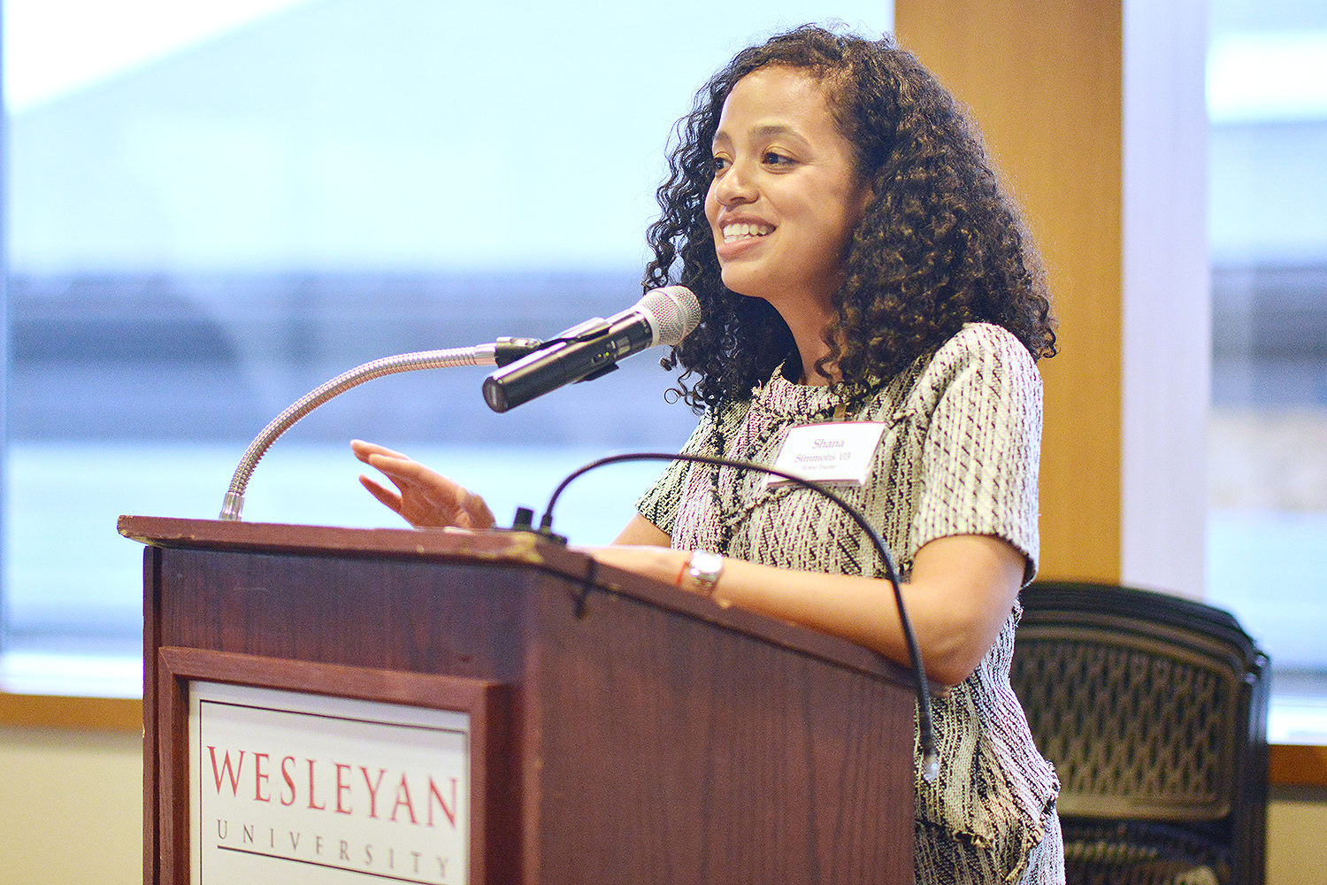 Wesleyan Trustee Shana Simmons '03 provided the keynote discussion during the Student of Color Dinner on April 12. The SOC dinner provides an opportunity for newly admitted students to learn about various Wesleyan affinity groups, organizations and offices on campus that provide student services.