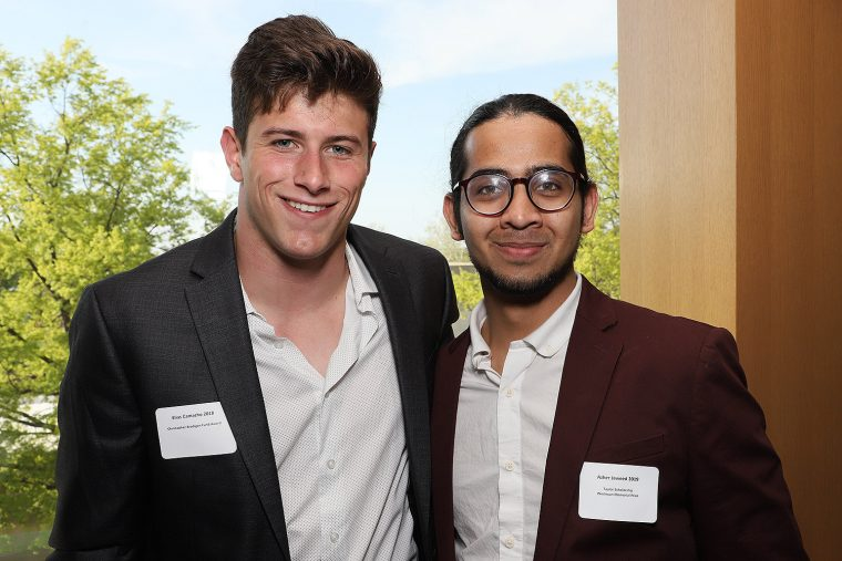Elias Camacho '18 won the Christopher Brogan Fund Award; Azher Jaweed '19 won the Taylor Scholarship and Wesleyan Memorial Prize