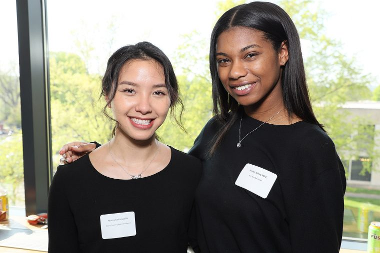 Marcia Saetang '19 won the Plukas Teaching Apprentice Award; Amber Story '18 won the Karl Van Dyke Prize