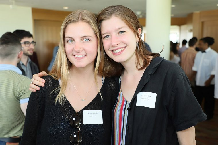 At left, Fiona McLeod '19 received the Boylan Award. At right, Julia Lejeune 2018 received the Holzberg Fellowship.