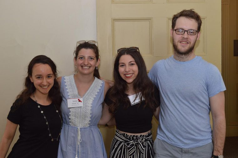 Many students and recent grads who worked on the Argus attended. From left, Jess Zalph '16, Molly Schiff '18, Erica DeMichiel '17, and Max Lee '16.