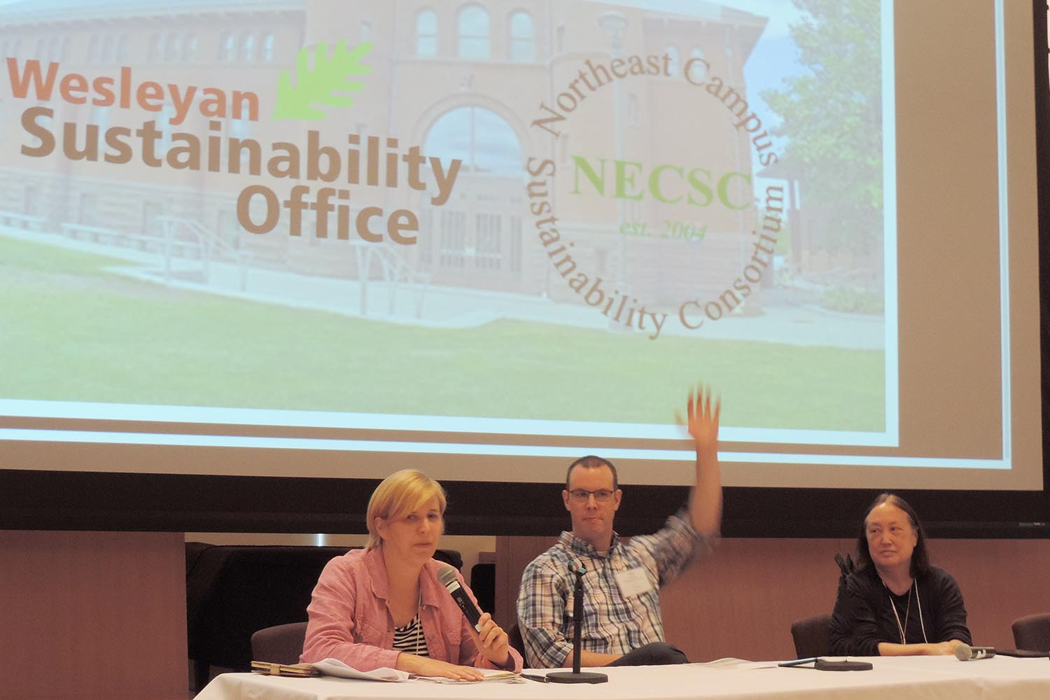 "Valerie Nye, director of financial services; Jeff Murphy, facilities business manager; and Joyce Jacobsen, provost and vice president for academic affairs, participated on a panel focused on the theme ""How to effect meaningful change by working with senior leaders."""