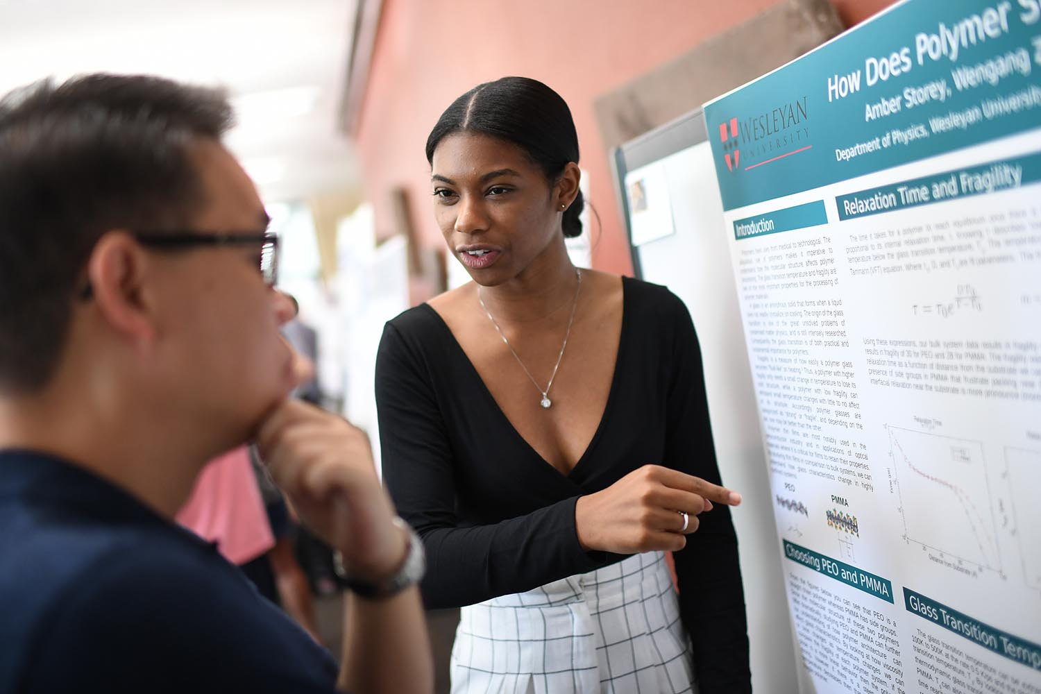 """Amber Storey presented her research on """"How Does Polymer Structure Affect Fragility?"""" Her advisor is Francis Starr."""