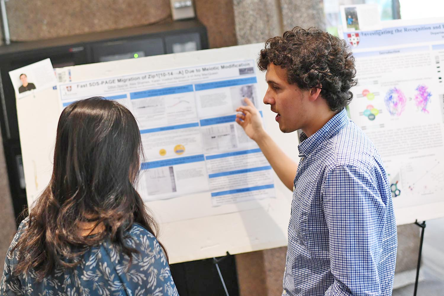 "Dillon Noone '20 presented ""Fast SDS-PAGE Migration of Zip1[10-14àA] Due to Meiotic Modification."" His advisor is Amy MacQueen, associate professor of molecular biology and biochemistry."