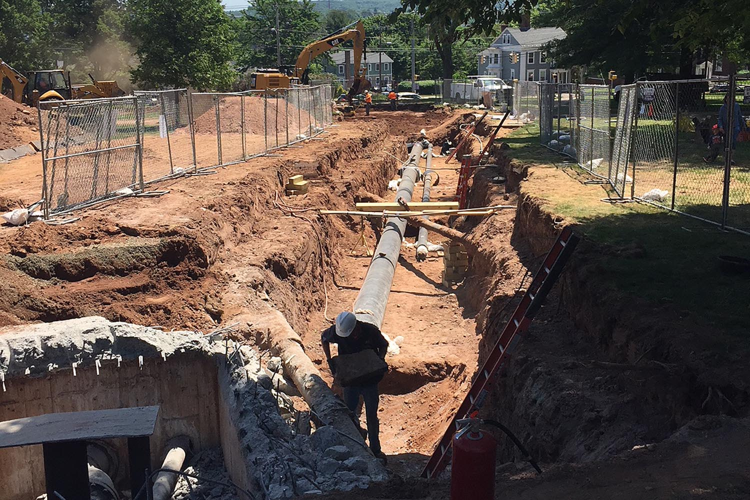 Steam pipes were replaced under the area between College Row and High Street in June.