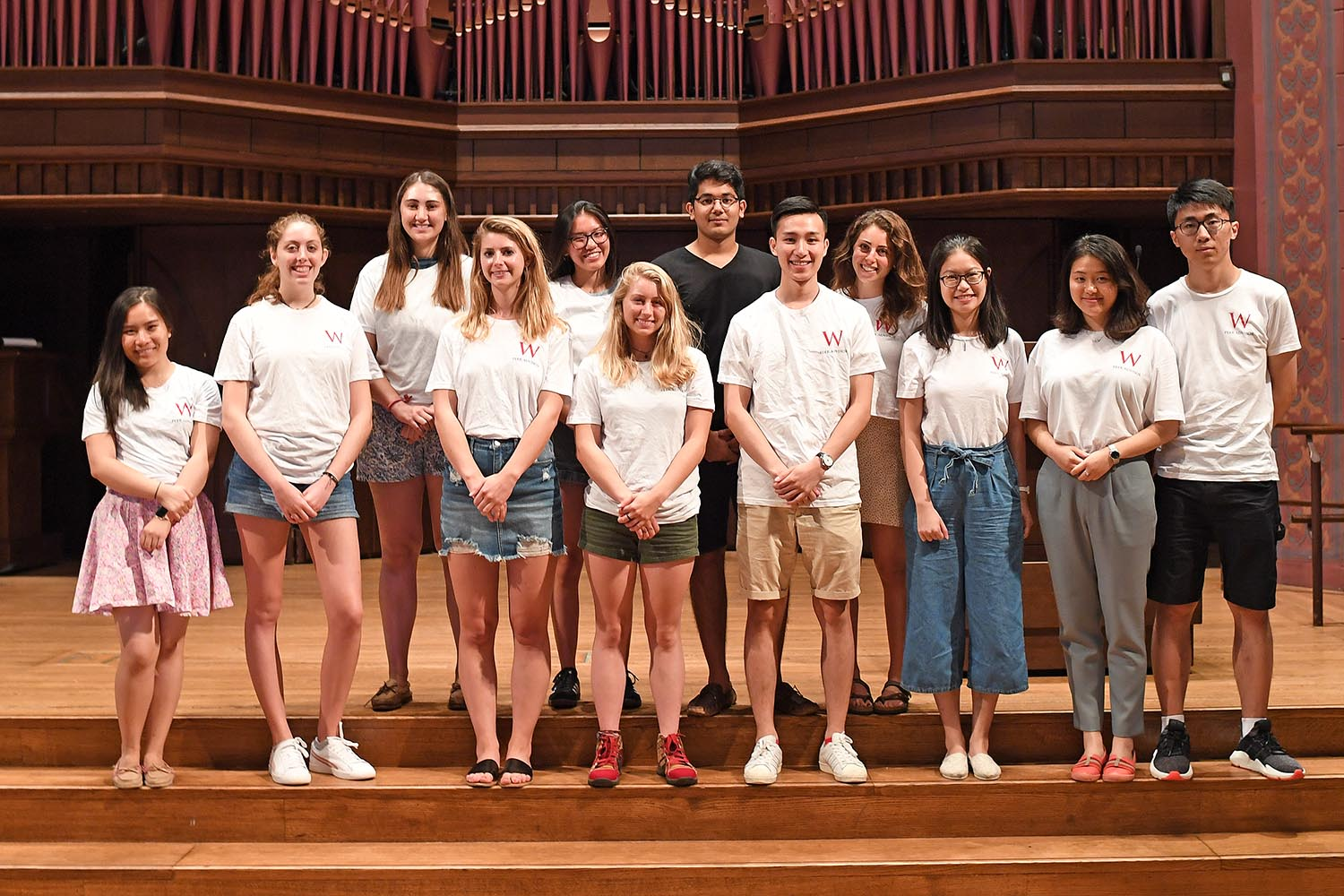 Academic peer advisors, pictured, work with Wesleyan students year-round. They attend week of training in May, a week in August, and an additional three hours of training per month.