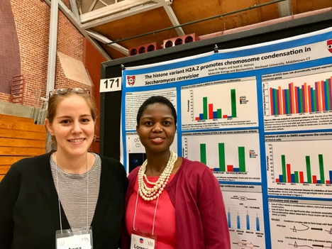 From the left is Anna Rogers and Lorencia Chigweshe, both graduate students in the Molecular biology and Biochemistry program.