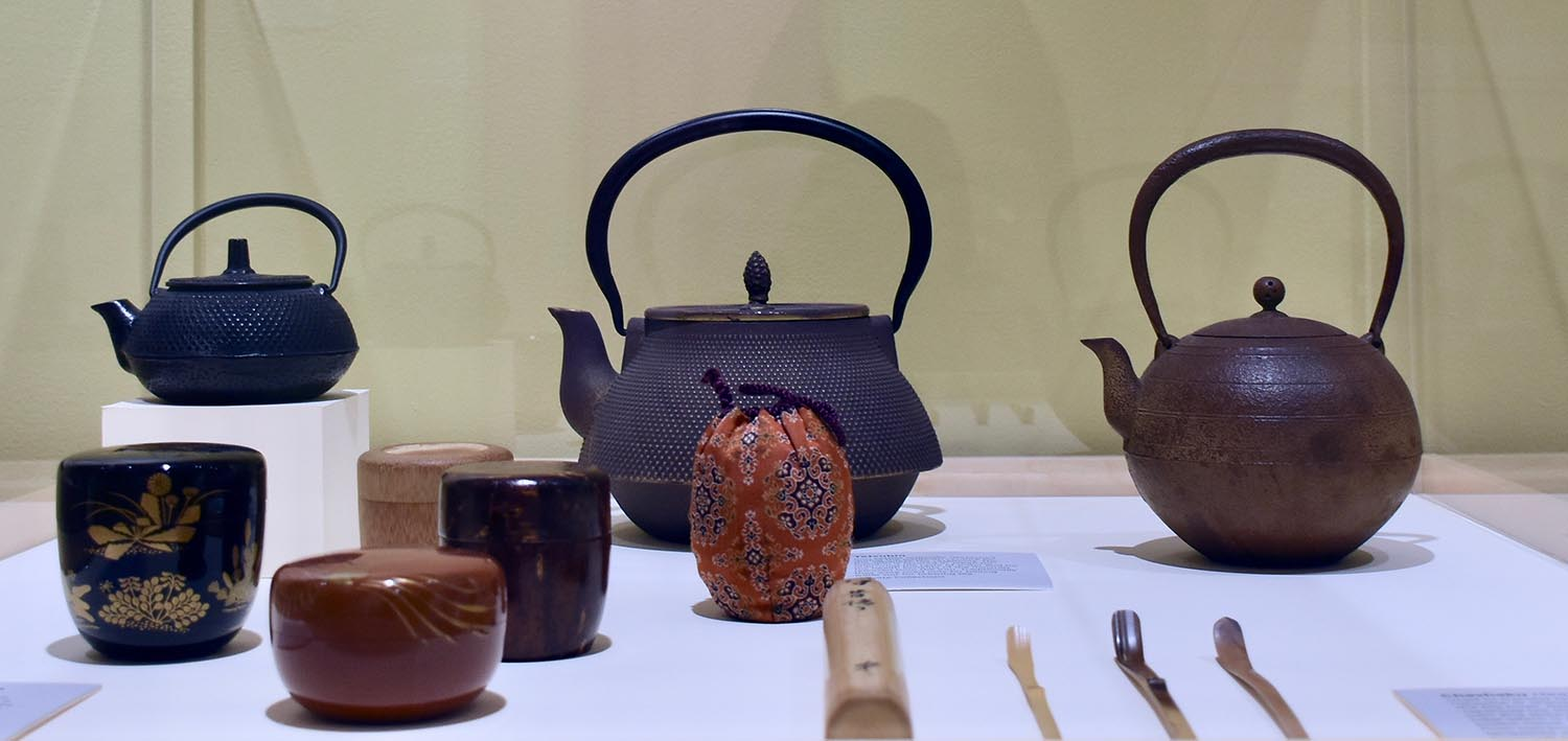 Objects on display have been selected from the College of East Asian Studies collection and loaned by tea enthusiasts in the Wesleyan community. Several media are represented, including ceramics, lacquerware, bamboo, wood, iron, textiles, and calligraphy.