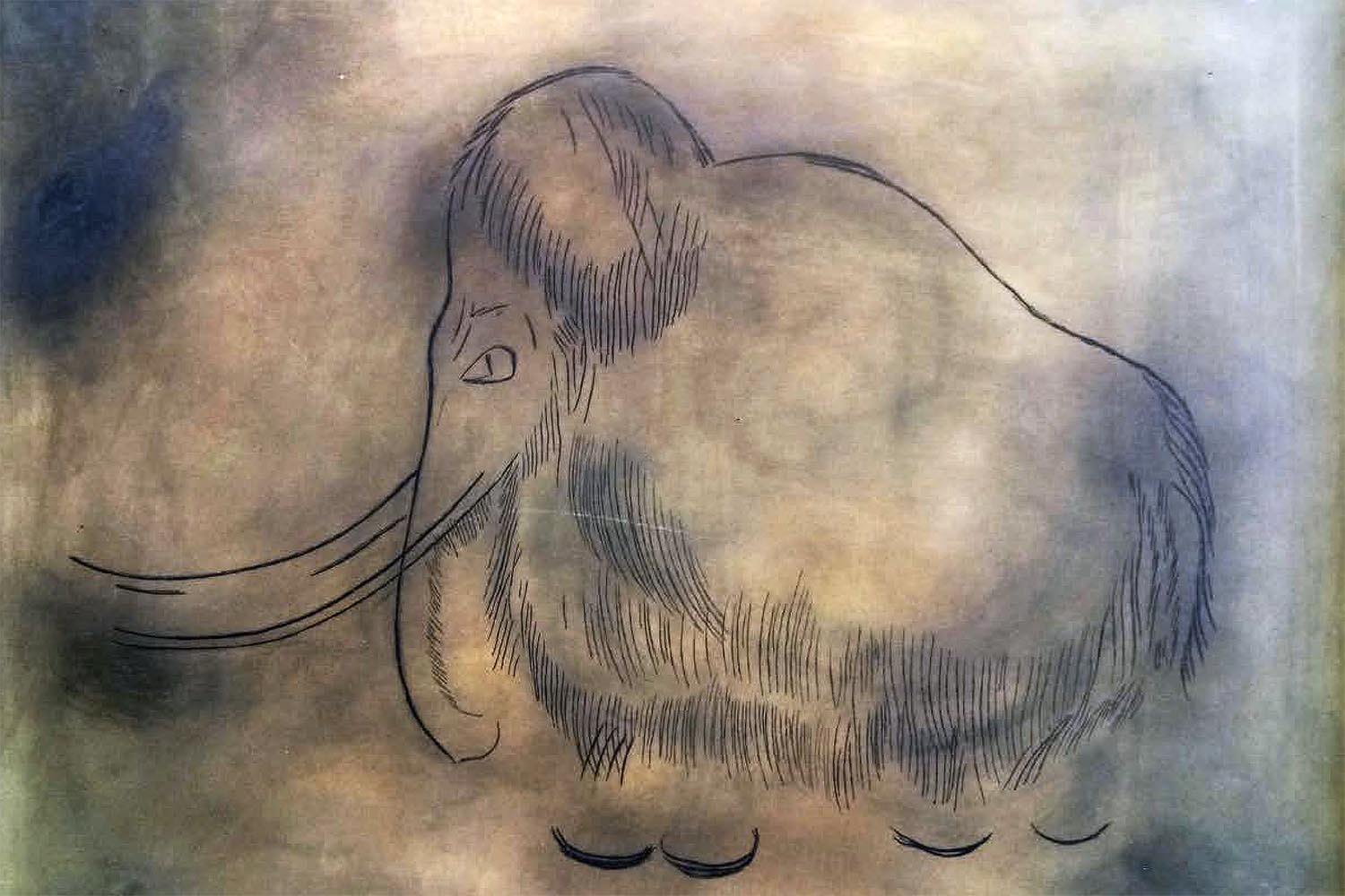 Max F. Fischinger After Paleolithic Cave Drawing of Woolly Mammoth from Font de Gaume, France Tübingon, Germany