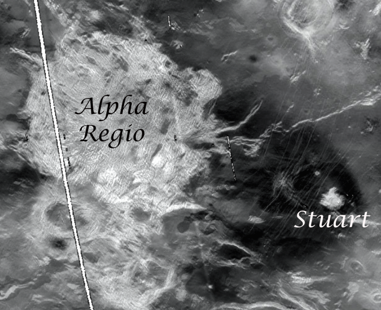Caption: Radar image of Venus. Alpha Regio tessera is partly covered by the dark parabola of the impact crater Stuart on the volcanic plains.