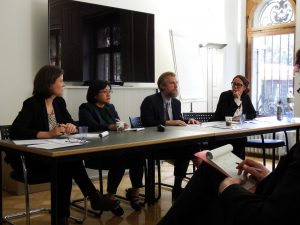 From left, Assistant Professor of Government Ioana Emy Matesan, Imelda Deinla, Clark Lombardi and moderator, Mimmi Söderberg Kovacs on a panel discussion with policymakers on conflict resolution.