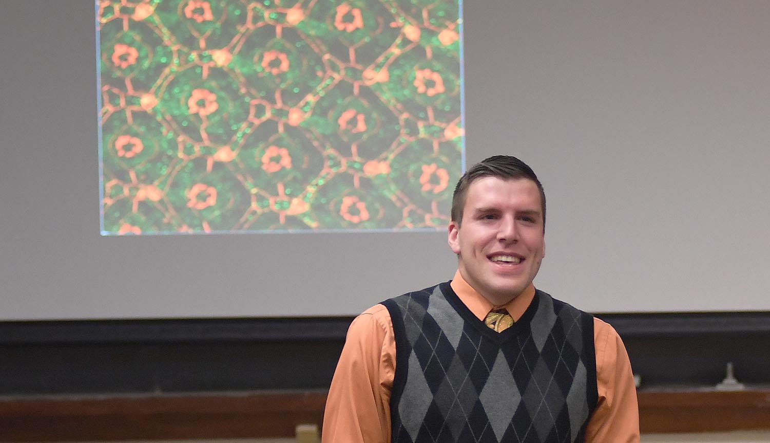 "On Oct. 31, Miles DeAngelis, a PhD candidate in biology, presented a graduate speaker series talk titled, ""The Hippo Signaling Pathway acts as a novel regulator of morphogenesis."" DeAngelis's advisor is Associate Professor of Biology Ruth Johnson, associate professor, integrative sciences."