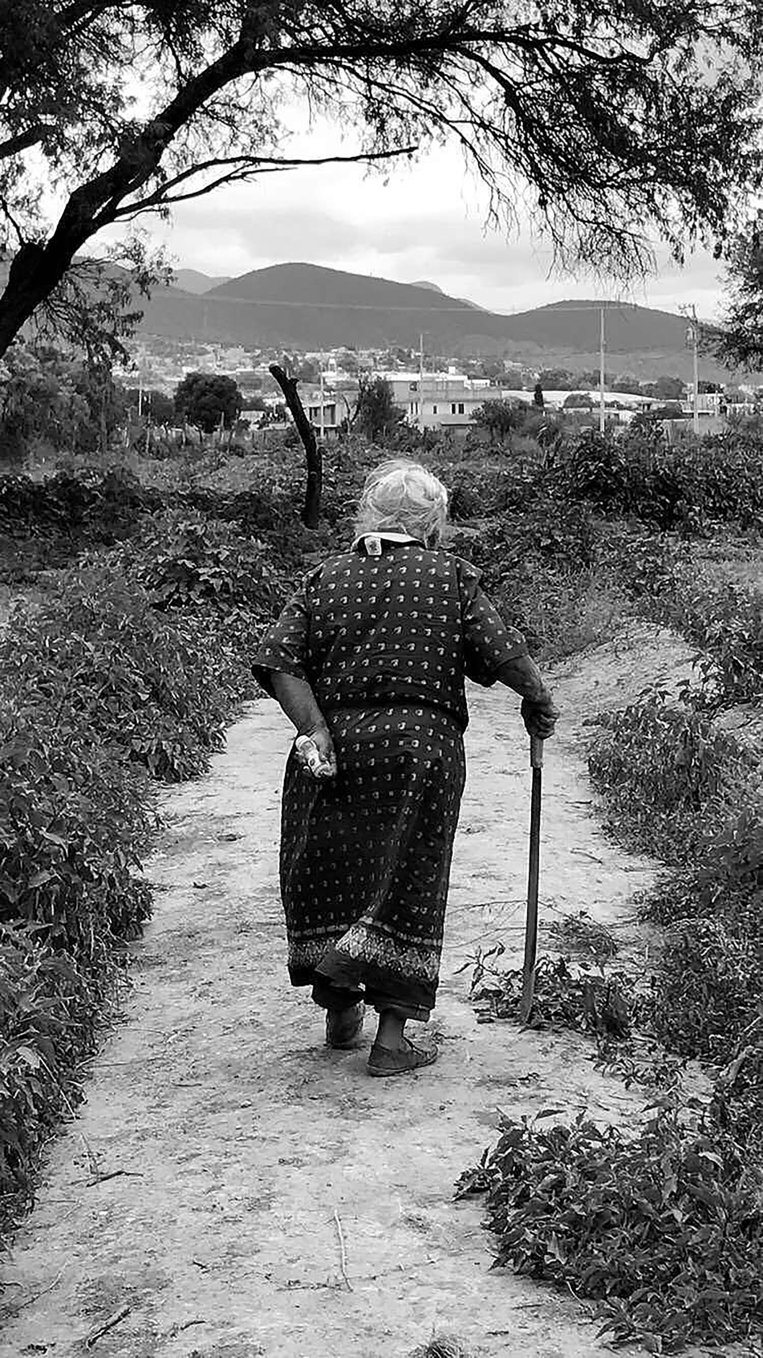 "Delila Flores '19 won Best Photo of Daily Life for her image titled ""Machete Abuela,"" taken in San Vincente, Puebla, México. ""This is my bisabuela walking through the campo, the fields, where she uses her machete for her livelihood. She uses it to cut the weeds, to protect herself from the snakes, and as a walking stick. Despite being 92 years old, she is still a strong woman who has defended her land and taught her daughters, my abuela and my mamá to do the same,"" Flores said."