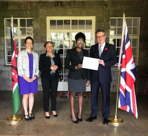 Claudia Kahindi '18, second from right, was awarded the 2019 Rhodes Scholarship for Kenya. From left, Elizabeth Kiss, warden of the Rhodes Trust, Sheila M'mbijjewe, Rhodes Selector, Kahindi, and Nic Hailey, the British High Commissioner to Kenya.